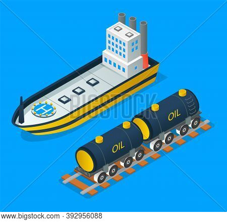 Oil Petroleum Industry Concept. Transportation Oil With Railway Carriage Or Ship. Isolated Vehicles