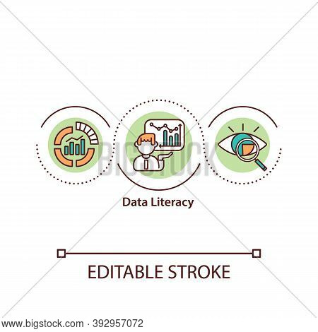 Data Literacy Concept Icon. Analyze And Communicate With Data. Derive Information Idea Thin Line Ill