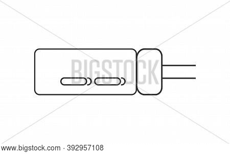 Electrical Capasitor Symbol Isolated Vector In Outline Style. Thru-hole Electrolytic Capasitor Icon