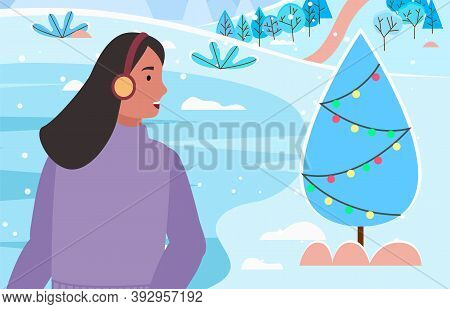 Woman Character Wearing Sweater And Airflaps Enjoying Wild Nature In Frost Season. Female Near Decor