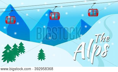 Traveling In The Snowy Alps. Funicular With Red Cabins, Cableway, Snowy White Hills, Skiing, Trip To