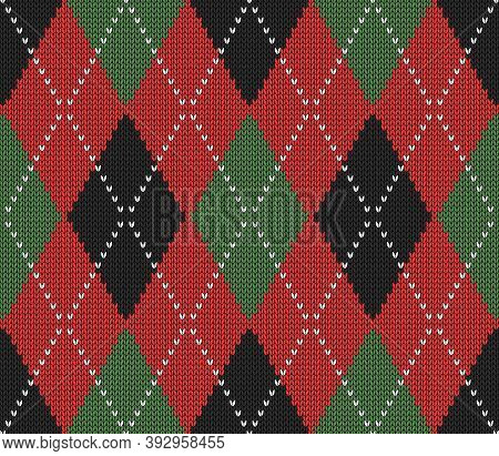 Knitted Argyle Christmas And New Year Pattern. Wool Knitinng. Scottish Plaid In Red, Black And Green