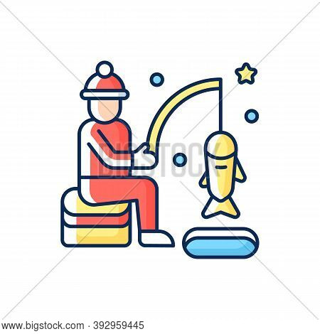 Ice Fishing Rgb Color Icon. Fisherman With Rod. Fisher Lure And Catch On Bait. North Icy Lake. Winte