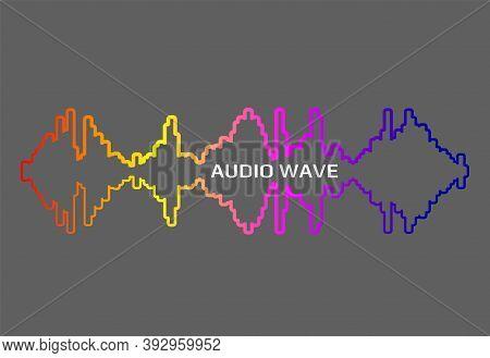 Pulse Music Player Contour. Audio Colorful Wave Logo. Vector Rainbow Equalizer Element