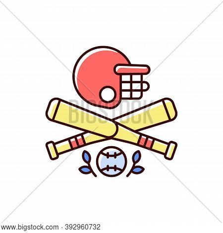 Baseball Rgb Color Icon. Bat-and-ball Game. Sport Participation. Batting And Fielding. Softball. Pit
