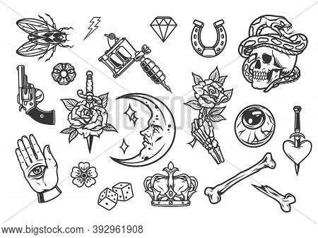 Vintage Tattoos Collection With Rose And Heart Pierced With Daggers Fly Pistol Dice Horseshoe Diamon