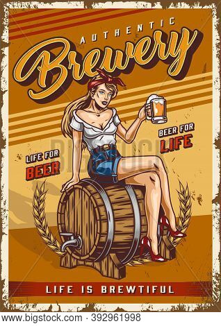 Brewing Colorful Vintage Poster With Pretty Woman Holding Cup Of Fresh Beer And Sitting On Wooden Ba