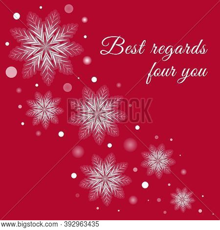 Red Winter Greeting Card With White Snowflakes And Glowing. Vector Holidays Background, Celebrations