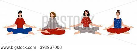 Women Meditate Together To Feel More Relaxed, Free And Calm. Meditating In Yoga Pose.