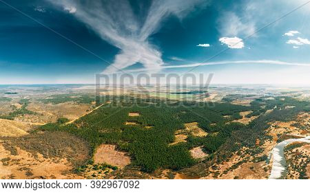Aerial View Of Deforestation Area Landscape. Green Pine Forest In Deforestation Zone. Top View Of Fo
