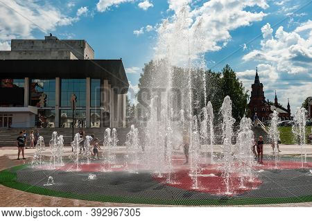 Vladimir, Russia, July 28, 2020, Russian Stage: Fountain In Front Of The Academic Drama Theater In V