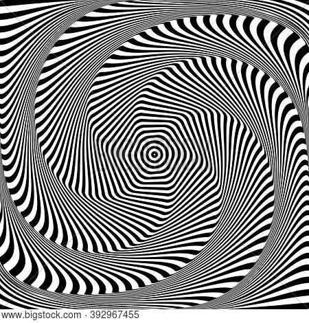 Abstract op art design. Illusion of rotation, torsion and twisting movement.