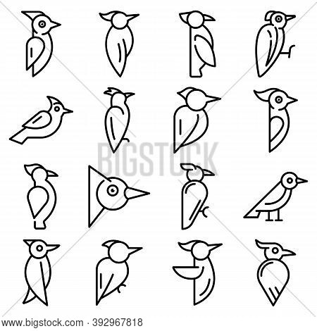 Woodpecker Icons Set. Outline Set Of Woodpecker Vector Icons For Web Design Isolated On White Backgr