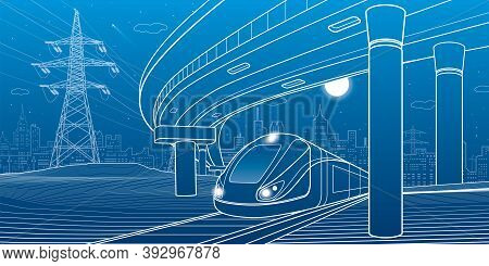 City Scene. Automobile Bridge, Overpass. Train Rides. Night City At Background. Electric Transport.