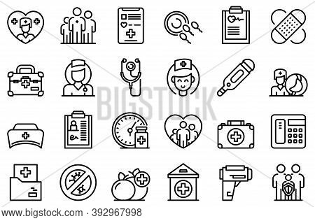 Family Doctor Icons Set. Outline Set Of Family Doctor Vector Icons For Web Design Isolated On White