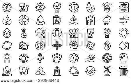 Natural Resources Icons Set. Outline Set Of Natural Resources Vector Icons For Web Design Isolated O