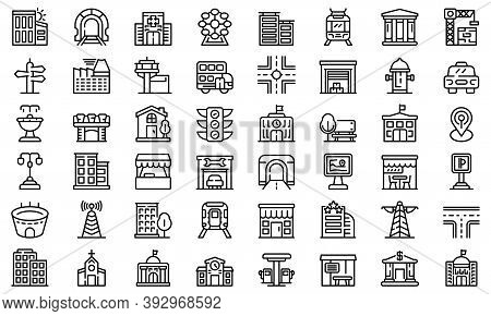 City Infrastructure Icons Set. Outline Set Of City Infrastructure Vector Icons For Web Design Isolat