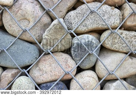Wall Of Gabion Filled With Boulders For Background