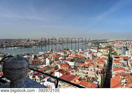 Skyline of Istanbul, as seen from Galata Tower. View of the Buyuk Hendek street in the Beyoglu District. City of Istanbul, Turkey.