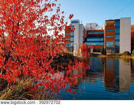 Espoo, Finland - October 1, 2019: Headquarters Of The Orion Corporation Located In Espoo Finland On