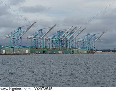 Norfolk, Usa - June 9, 2019: Harbor Pier 1 And 2 Of Norfolk International Terminals.