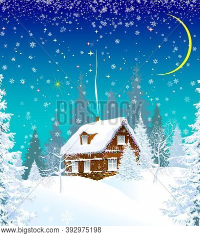 House In A Snowy Forest, Decorated With A Garland. Winter Christmas Night. Christmas Star In The Sky