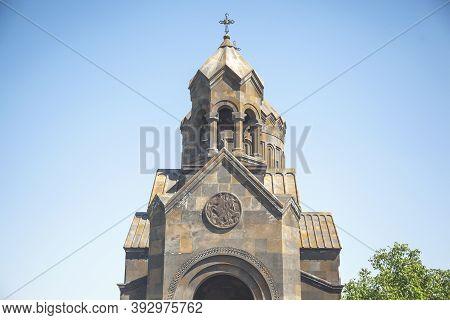 Church In Armenia Under Blue Sky Background