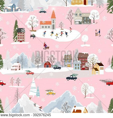 Seamless Christmas Landscape In The Town With Fairy Tale Houses,snowflakes,christmas Trees With Deco