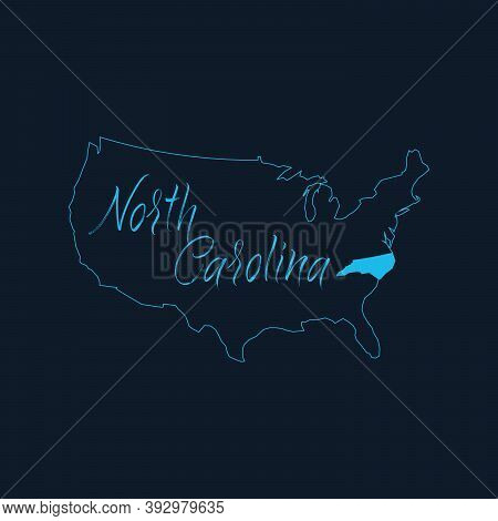 North Carolina Nc State Highlighted On United States Of America Map , Usa Infographics Template. Sto