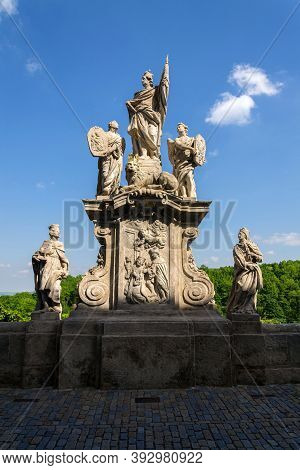 St. Wenceslaus Statue In Front Of The Jesuit College Near Saint Barbaras Church, Kutna Hora, Sunny S