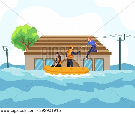 Flood Disaster Illustration Concept. Rescuer Helped People By Boat From Sinking House And Through Fl