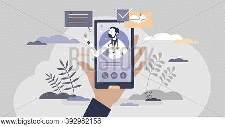 Virtual Doctor Videocall For Distant Health Consultation Tiny Person Concept. Medical Recommendation