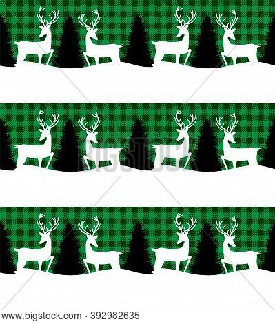 Buffalo Plaid Christmas And New Year S Pattern In A Convertible Carries A Christmas Tree. Eps 10