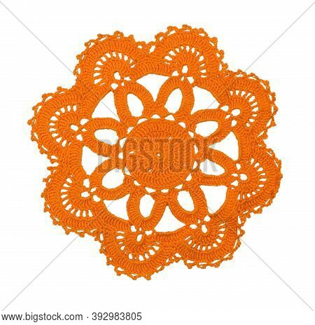 Vintage Crochet Doily.  Crocheted Lace Napkin As Home Decoration On White.