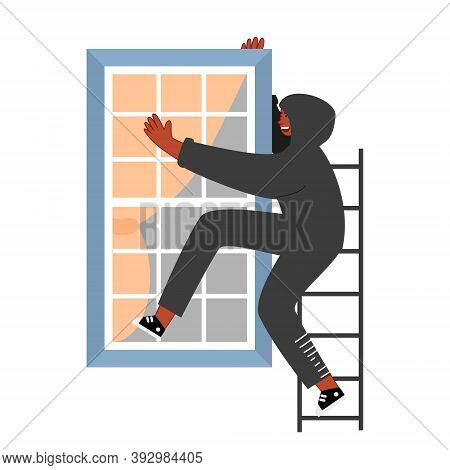 A Thief In A Black Hood Climbs Through The Window. The Offender Wants To Burglary In The Apartment.