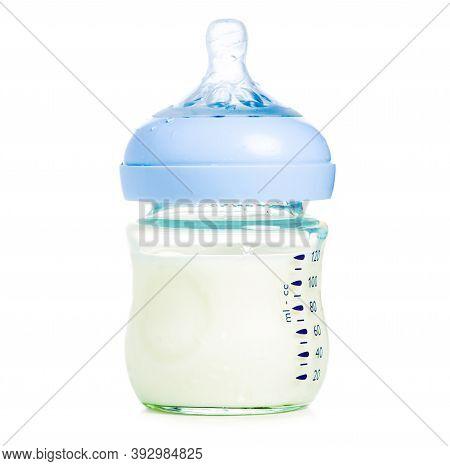 Baby Milk Bottle On White Background Isolation