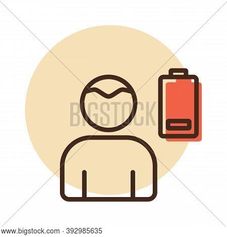 Novel Coronavirus Symptoms Weakness Vector Icon. Stress Low Battery. Graph Symbol For Medical Web Si