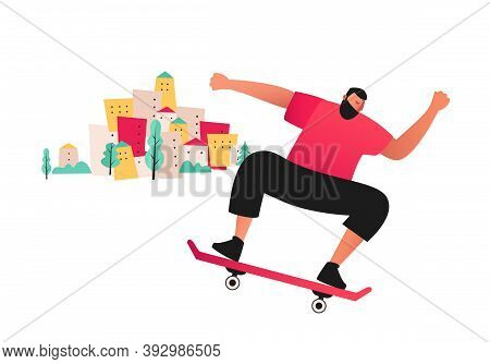 Young Man On A Skateboard. Extreme Sport Training Tricks Isolated On White Background. Active Rest O
