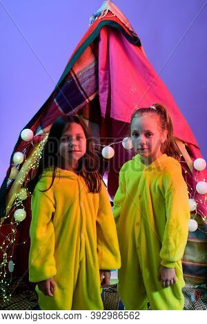 Children Pajama Party In Home Made Tent Inside The Livingroom