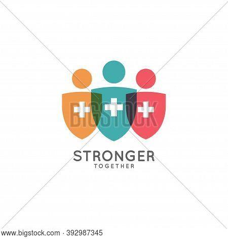 Stronger Together Logo. Medicine Shield On White