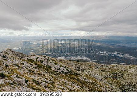 Mountain Biokovo. Mountain Landscape With Low Clouds. Croatia