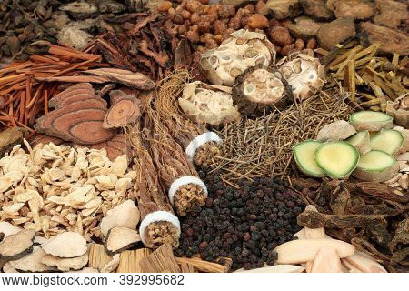 Traditional Chinese herbs & spice used in herbal medicine with herbs and spices. Alternative health care concept.