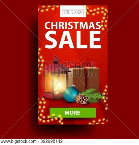 Modern Red Christmas Discount Banner With Gift, Vintage Lantern, Christmas Tree Branch With A Cone A