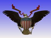 bald eagle with flag and arrows poster