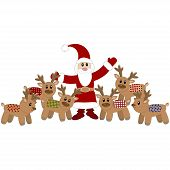 Santa Claus and cute deers. Vector illustration poster