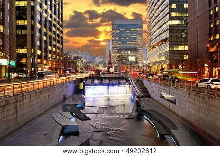 Cityscape of Seoul, South Korea at Cheonggyecheon Stream. poster