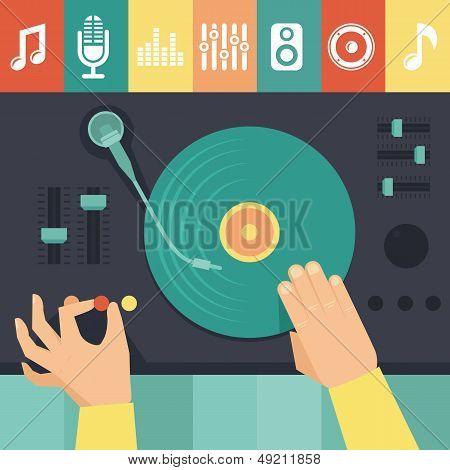 Vector Turntable And Dj Hands - Music Concept