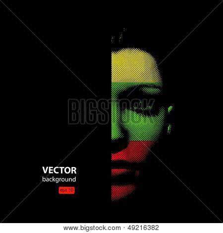 woman face illustration, halftone