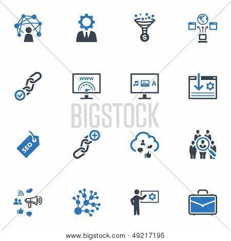 SEO & Internet Marketing Icons Set 2 - Blue Series
