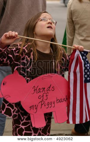 Tea Party 2009 Girl With Piggy Bank Sign